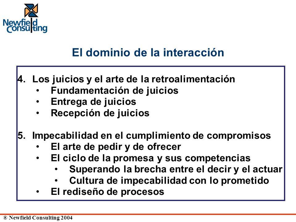 ® Newfield Consulting 2004 El dominio de la interacción 4. Los juicios y el arte de la retroalimentación Fundamentación de juicios Entrega de juicios