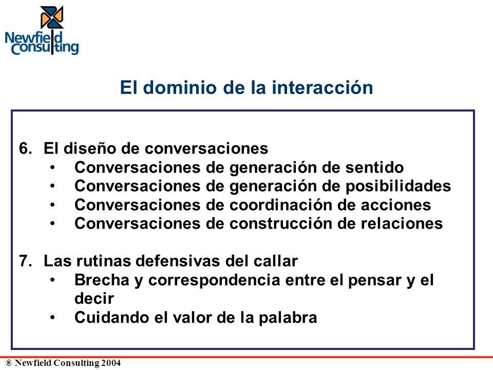 ® Newfield Consulting 2004 El dominio de la interacción 6. El diseño de conversaciones Conversaciones de generación de sentido Conversaciones de gener