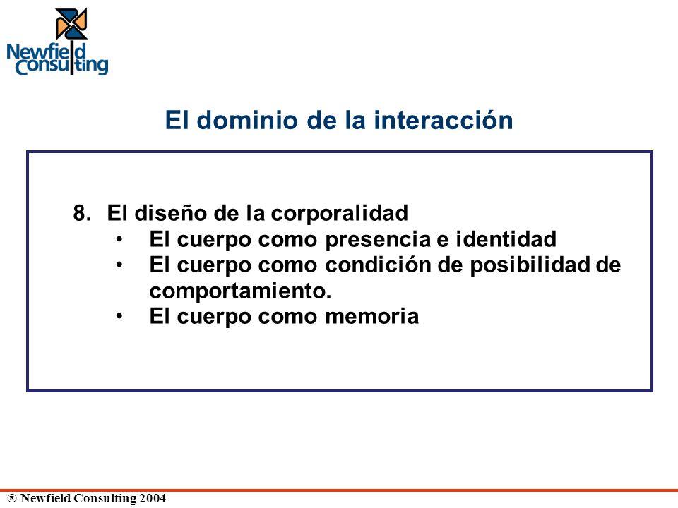 ® Newfield Consulting 2004 El dominio de la interacción 8. El diseño de la corporalidad El cuerpo como presencia e identidad El cuerpo como condición