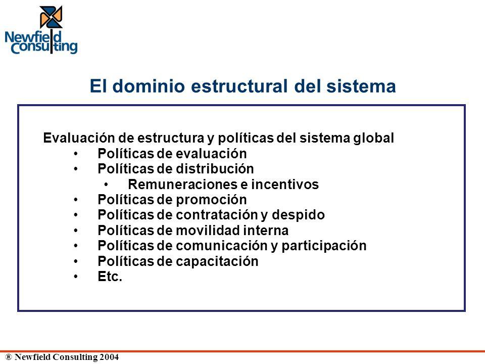 ® Newfield Consulting 2004 El dominio estructural del sistema Evaluación de estructura y políticas del sistema global Políticas de evaluación Política