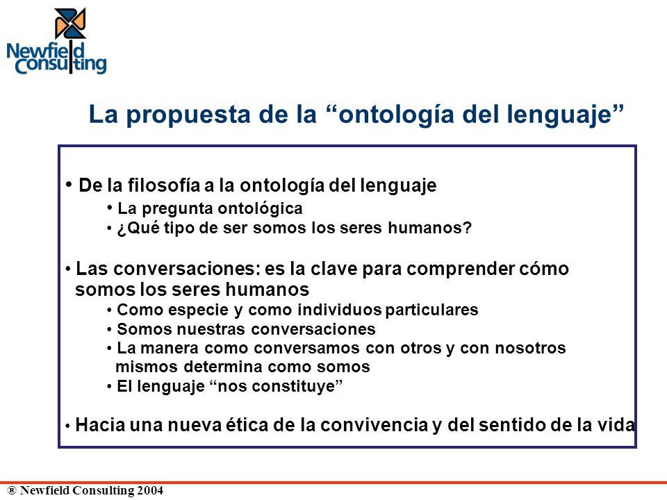 ® Newfield Consulting 2004 La propuesta de la ontología del lenguaje De la filosofía a la ontología del lenguaje La pregunta ontológica ¿Qué tipo de s