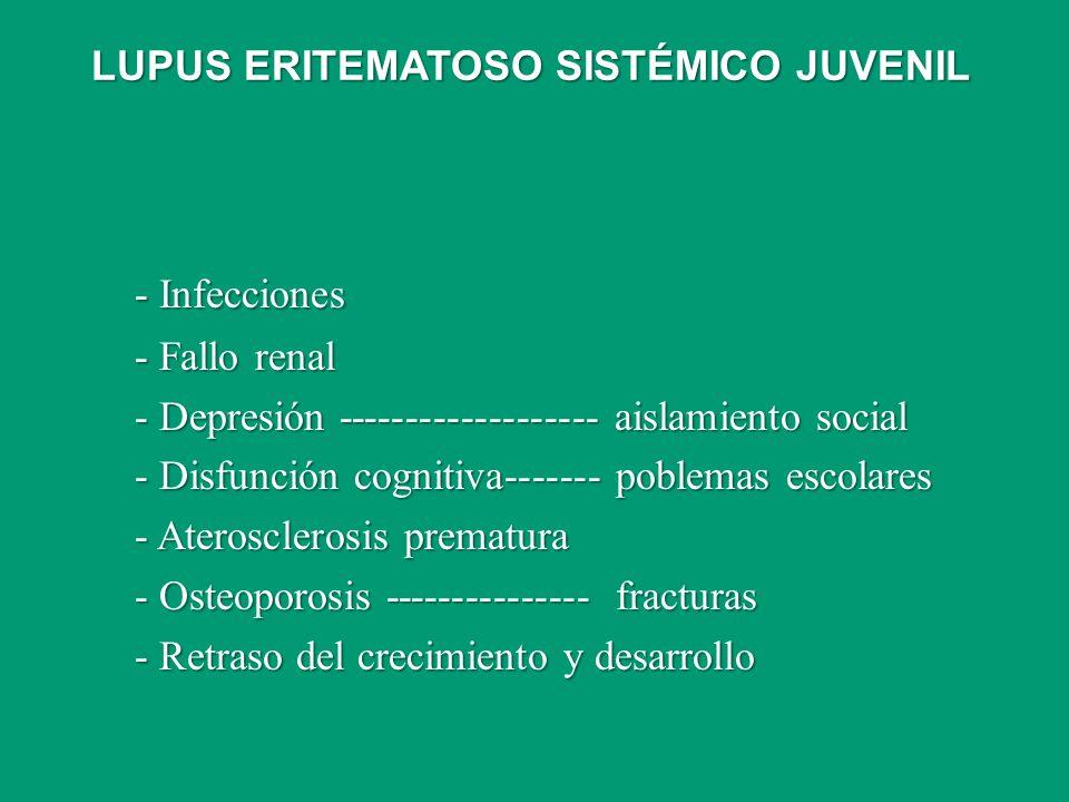 - Infecciones - Fallo renal - Depresión ------------------- aislamiento social - Disfunción cognitiva------- poblemas escolares - Aterosclerosis prema