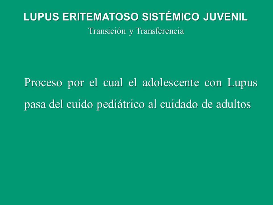 Transición y Transferencia Proceso por el cual el adolescente con Lupus pasa del cuido pediátrico al cuidado de adultos