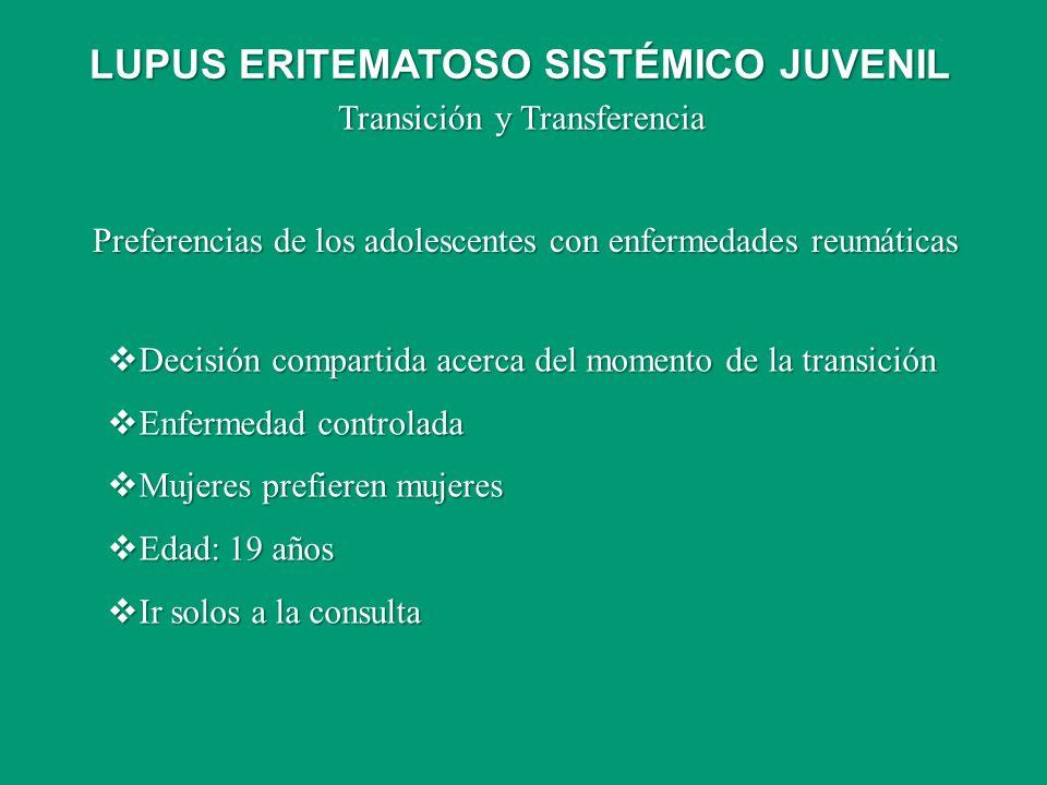 Preferencias de los adolescentes con enfermedades reumáticas Decisión compartida acerca del momento de la transición Decisión compartida acerca del mo