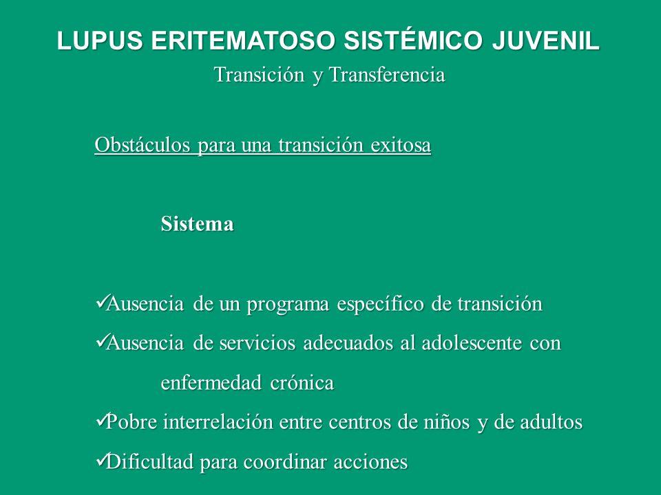 Transición y Transferencia Obstáculos para una transición exitosa Sistema Ausencia de un programa específico de transición Ausencia de un programa esp