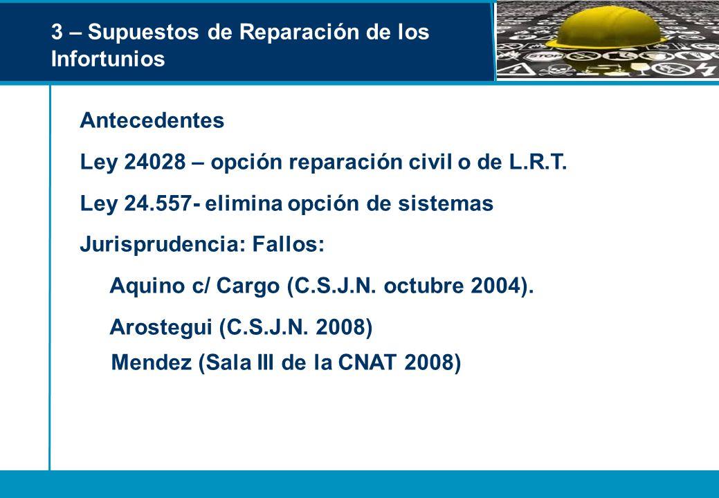 3 – Supuestos de Reparación de los Infortunios Antecedentes Ley 24028 – opción reparación civil o de L.R.T. Ley 24.557- elimina opción de sistemas Jur