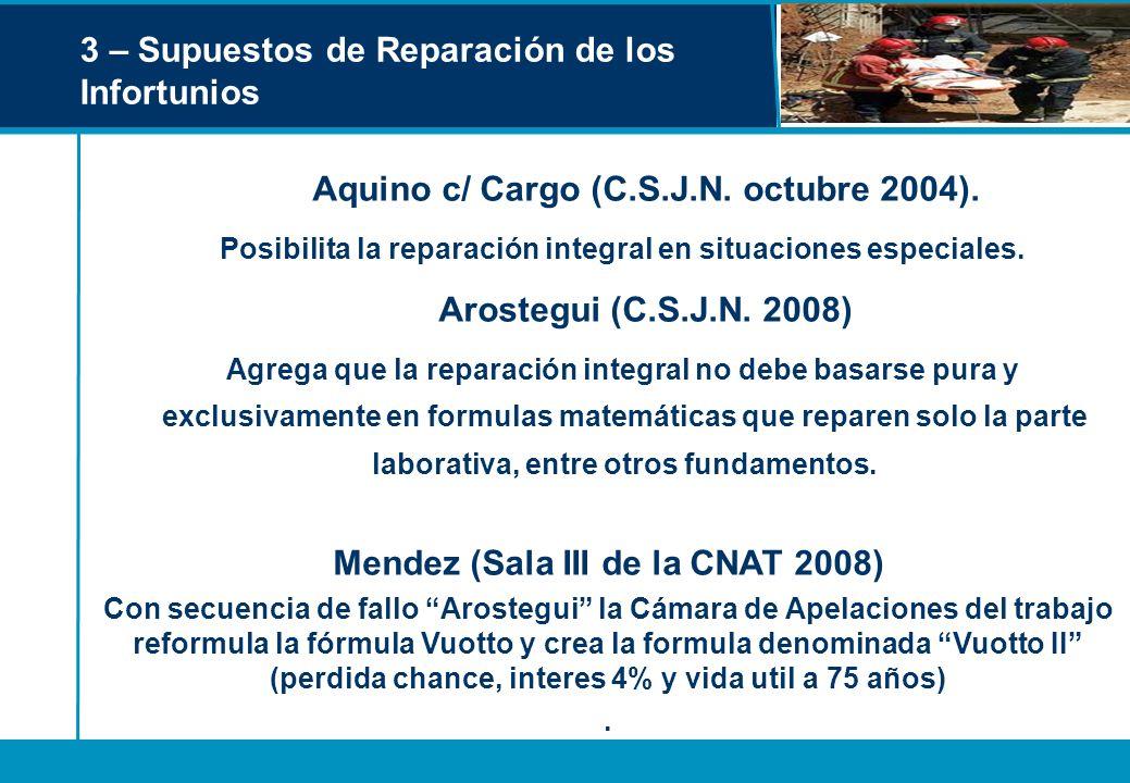 3 – Supuestos de Reparación de los Infortunios Aquino c/ Cargo (C.S.J.N. octubre 2004). Posibilita la reparación integral en situaciones especiales. A