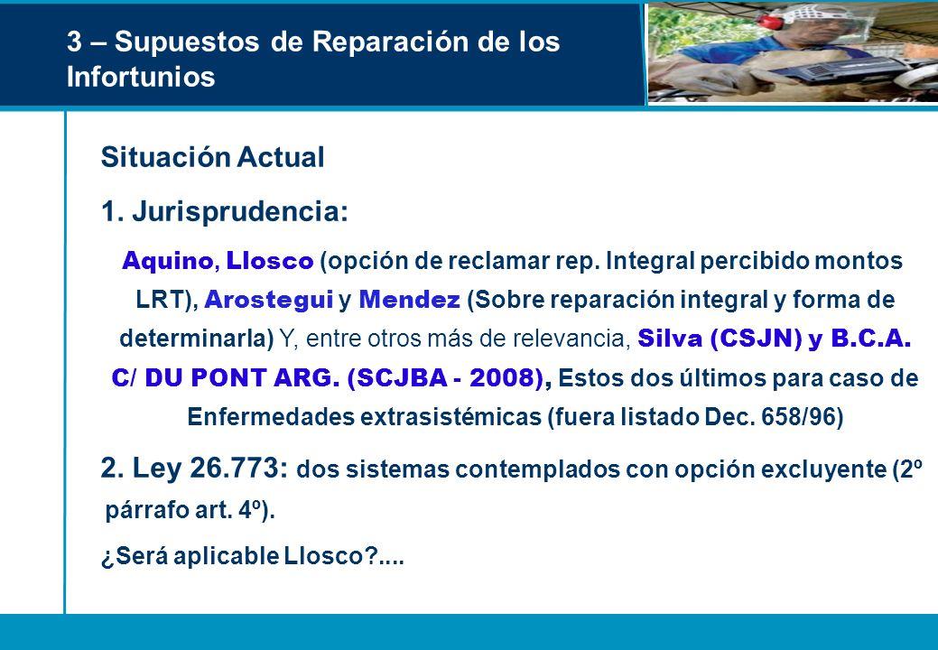 3 – Supuestos de Reparación de los Infortunios Situación Actual 1. Jurisprudencia: Aquino, Llosco (opción de reclamar rep. Integral percibido montos L