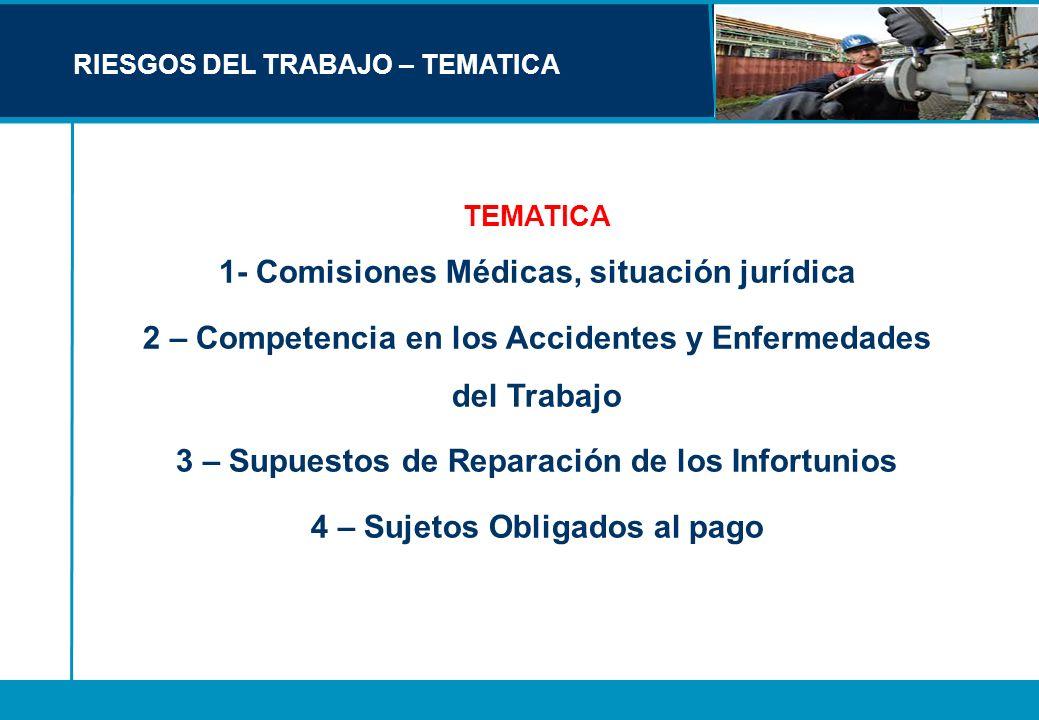 RIESGOS DEL TRABAJO – TEMATICA TEMATICA 1- Comisiones Médicas, situación jurídica 2 – Competencia en los Accidentes y Enfermedades del Trabajo 3 – Sup