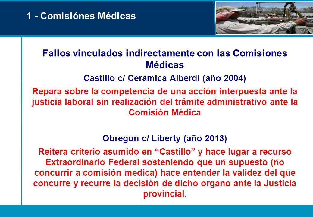 1 - Comisiónes Médicas Fallos vinculados indirectamente con las Comisiones Médicas Castillo c/ Ceramica Alberdi (año 2004) Repara sobre la competencia