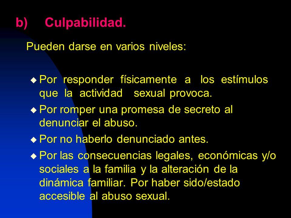 b)Culpabilidad. Pueden darse en varios niveles: Por responder físicamente a los estímulos que la actividad sexual provoca. Por romper una promesa de s