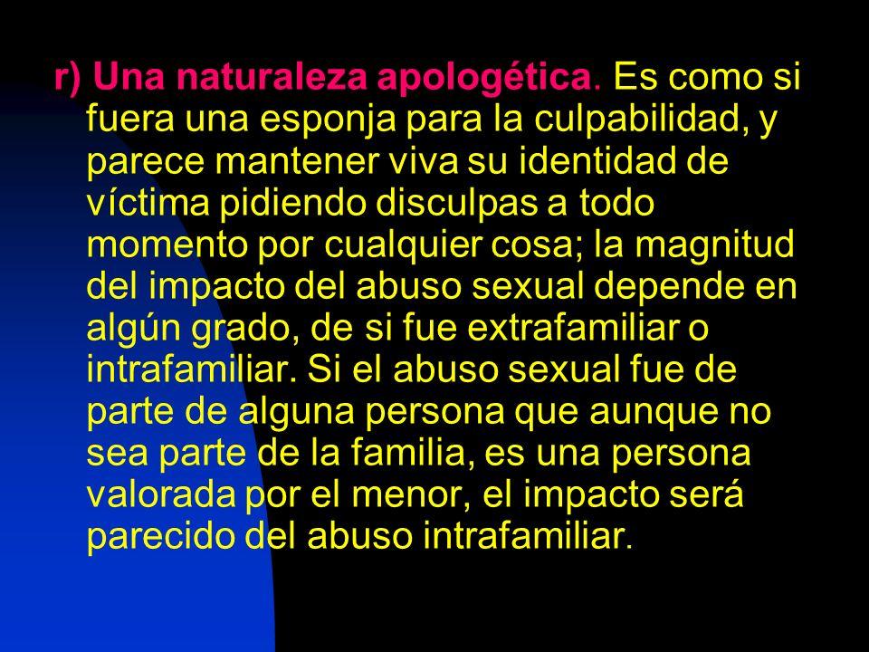 r) Una naturaleza apologética. Es como si fuera una esponja para la culpabilidad, y parece mantener viva su identidad de víctima pidiendo disculpas a