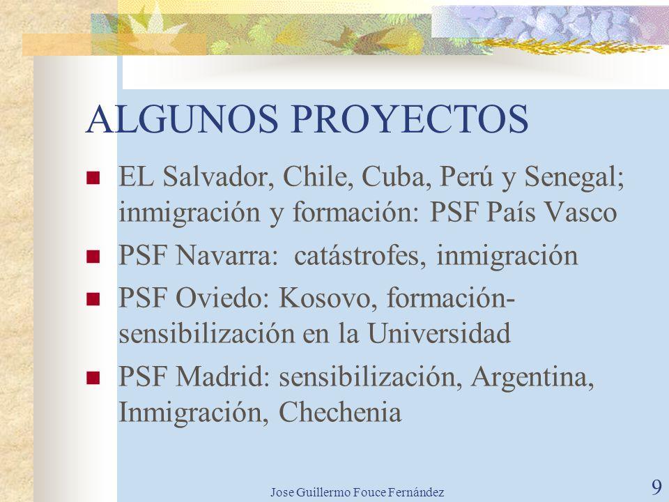 Jose Guillermo Fouce Fernández 8 Desarrollo tejido social Diferenciar entre voluntariado y profesión Apoyar desarrollo grupos de trabajo en los países