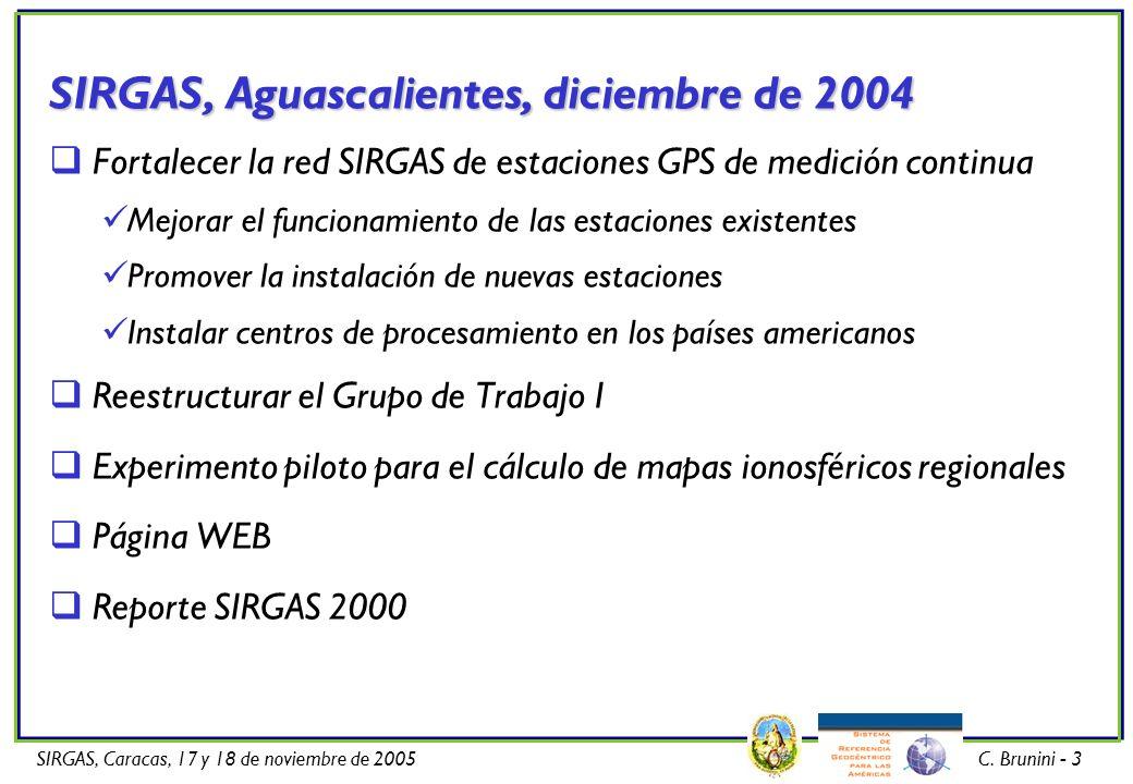 SIRGAS, Aguascalientes, diciembre de 2004 Fortalecer la red SIRGAS de estaciones GPS de medición continua Mejorar el funcionamiento de las estaciones