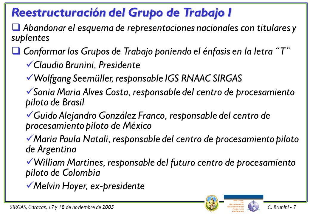 SIRGAS, Caracas, 17 y 18 de noviembre de 2005C. Brunini - 7 Reestructuración del Grupo de Trabajo I Abandonar el esquema de representaciones nacionale