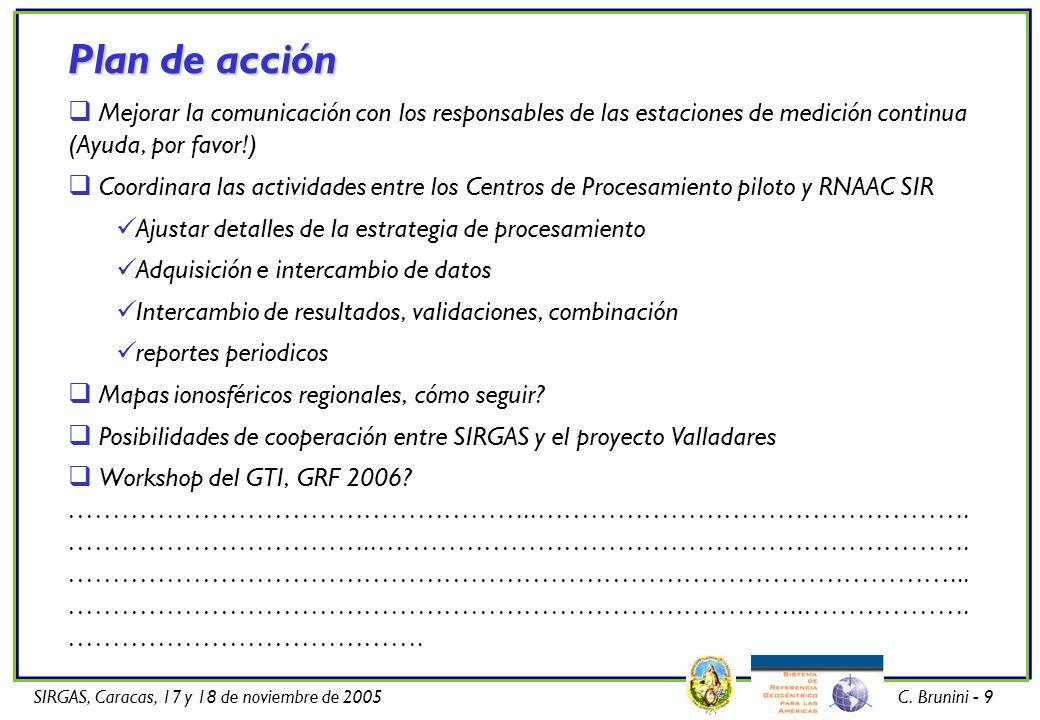 SIRGAS, Caracas, 17 y 18 de noviembre de 2005C. Brunini - 9 Plan de acción Mejorar la comunicación con los responsables de las estaciones de medición