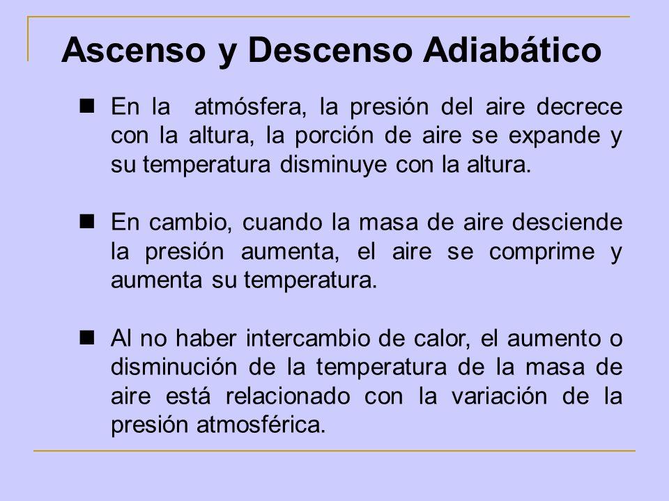 Ascenso y Descenso Adiabático En la atmósfera, la presión del aire decrece con la altura, la porción de aire se expande y su temperatura disminuye con