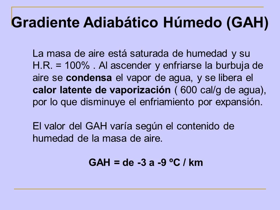 La masa de aire está saturada de humedad y su H.R. = 100%. Al ascender y enfriarse la burbuja de aire se condensa el vapor de agua, y se libera el cal