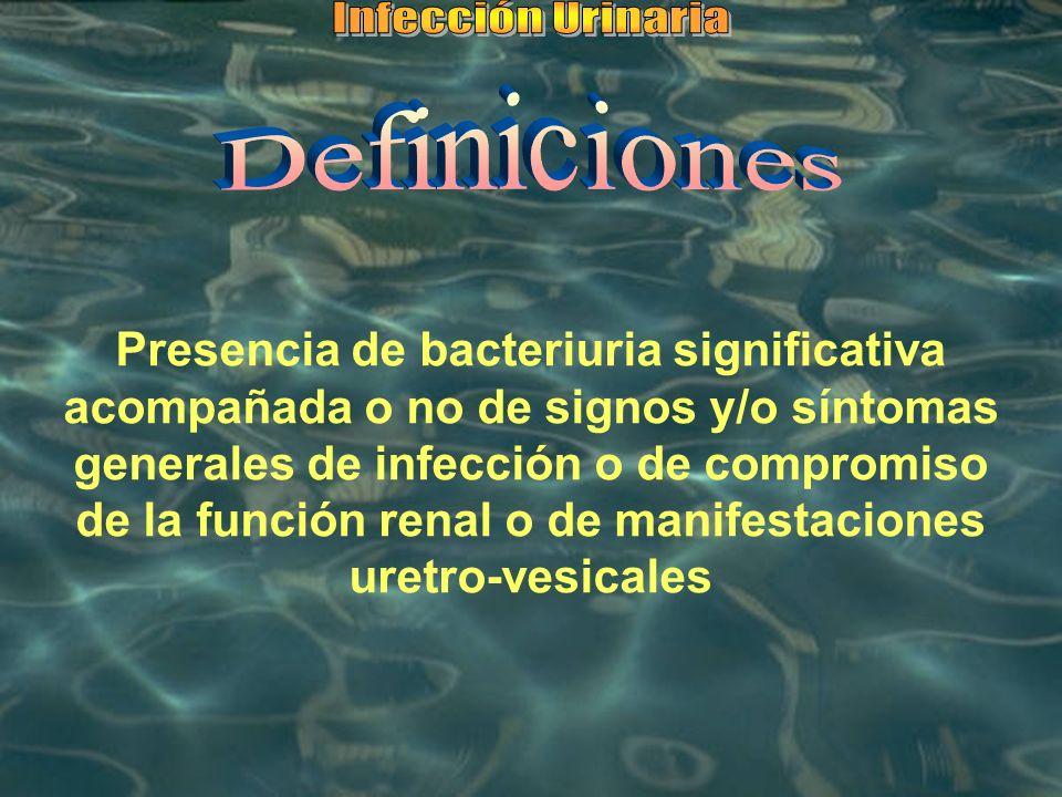 Presencia de bacteriuria significativa acompañada o no de signos y/o síntomas generales de infección o de compromiso de la función renal o de manifest