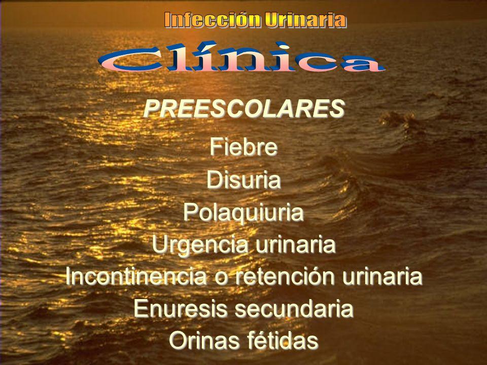 PREESCOLARESFiebreDisuriaPolaquiuria Urgencia urinaria Incontinencia o retención urinaria Enuresis secundaria Orinas fétidas