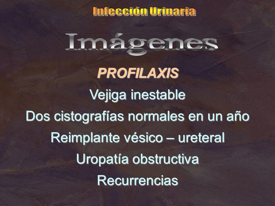 PROFILAXIS Vejiga inestable Dos cistografías normales en un año Reimplante vésico – ureteral Uropatía obstructiva Recurrencias