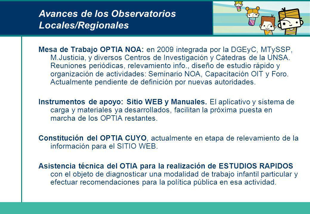 Avances de los Observatorios Locales/Regionales Mesa de Trabajo OPTIA NOA: en 2009 integrada por la DGEyC, MTySSP, M.Justicia, y diversos Centros de I