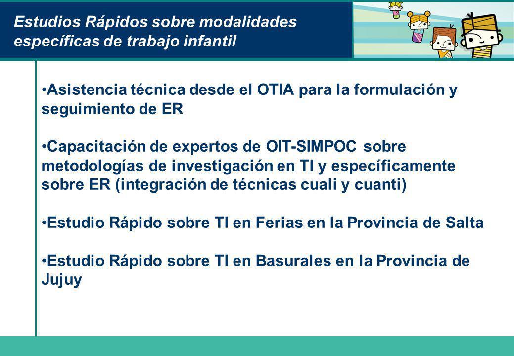 Estudios Rápidos sobre modalidades específicas de trabajo infantil Asistencia técnica desde el OTIA para la formulación y seguimiento de ER Capacitaci