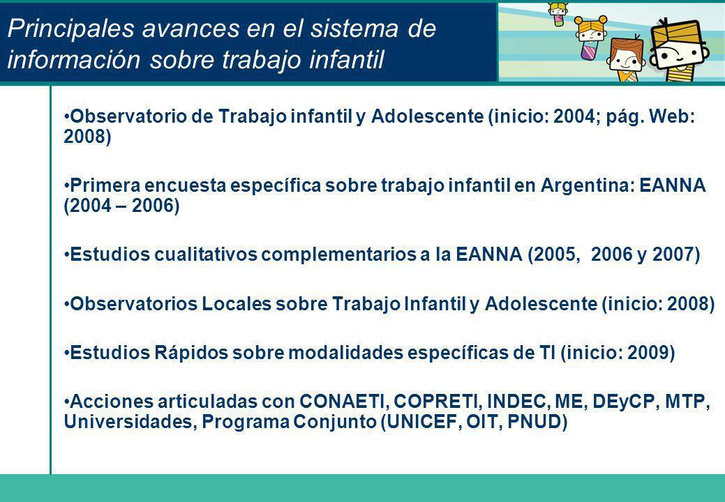 Principales avances en el sistema de información sobre trabajo infantil Observatorio de Trabajo infantil y Adolescente (inicio: 2004; pág. Web: 2008)