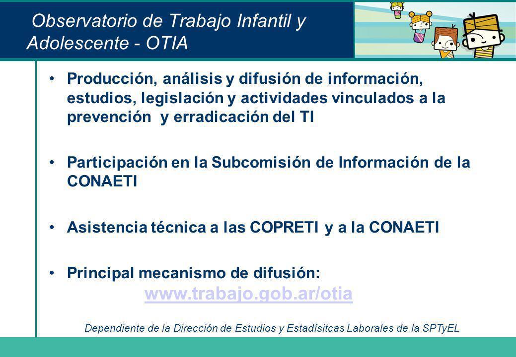 Observatorio de Trabajo Infantil y Adolescente - OTIA Producción, análisis y difusión de información, estudios, legislación y actividades vinculados a