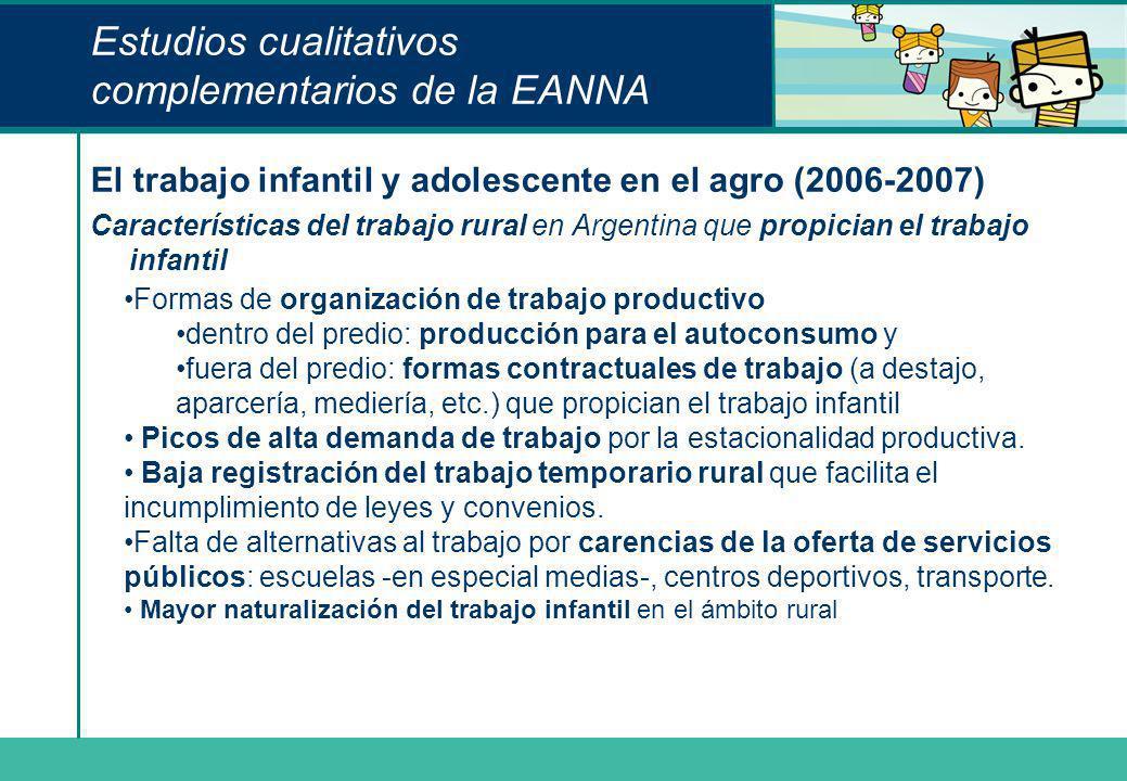Estudios cualitativos complementarios de la EANNA El trabajo infantil y adolescente en el agro (2006-2007) Características del trabajo rural en Argent