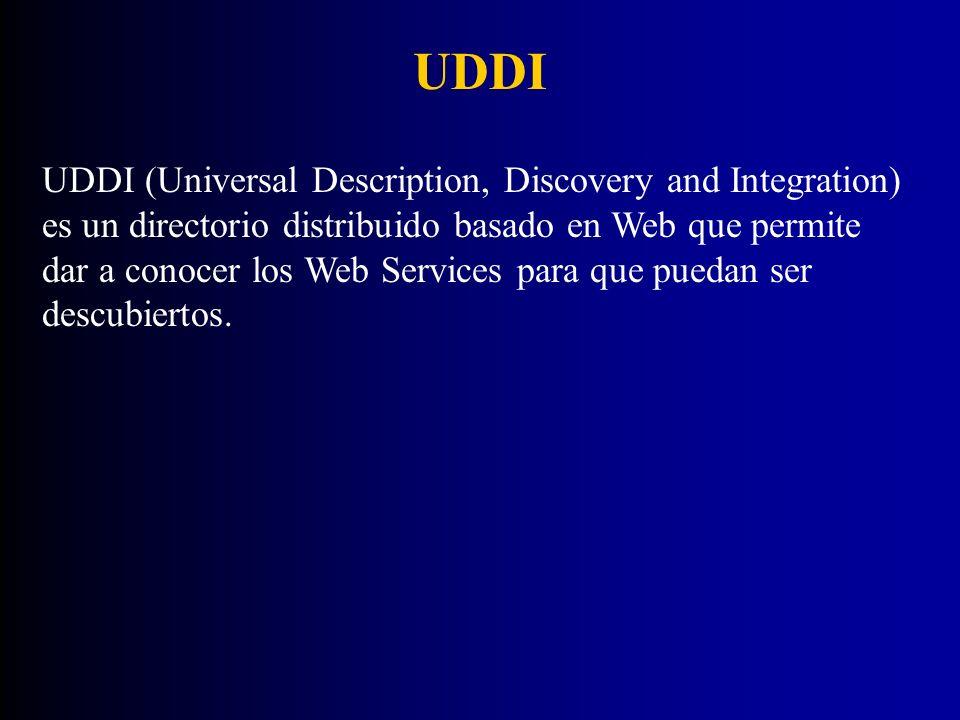 UDDI UDDI (Universal Description, Discovery and Integration) es un directorio distribuido basado en Web que permite dar a conocer los Web Services par