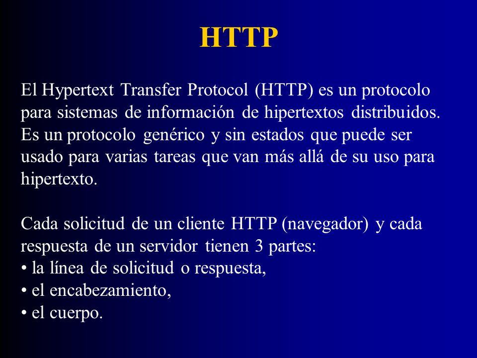 HTTP El Hypertext Transfer Protocol (HTTP) es un protocolo para sistemas de información de hipertextos distribuidos. Es un protocolo genérico y sin es