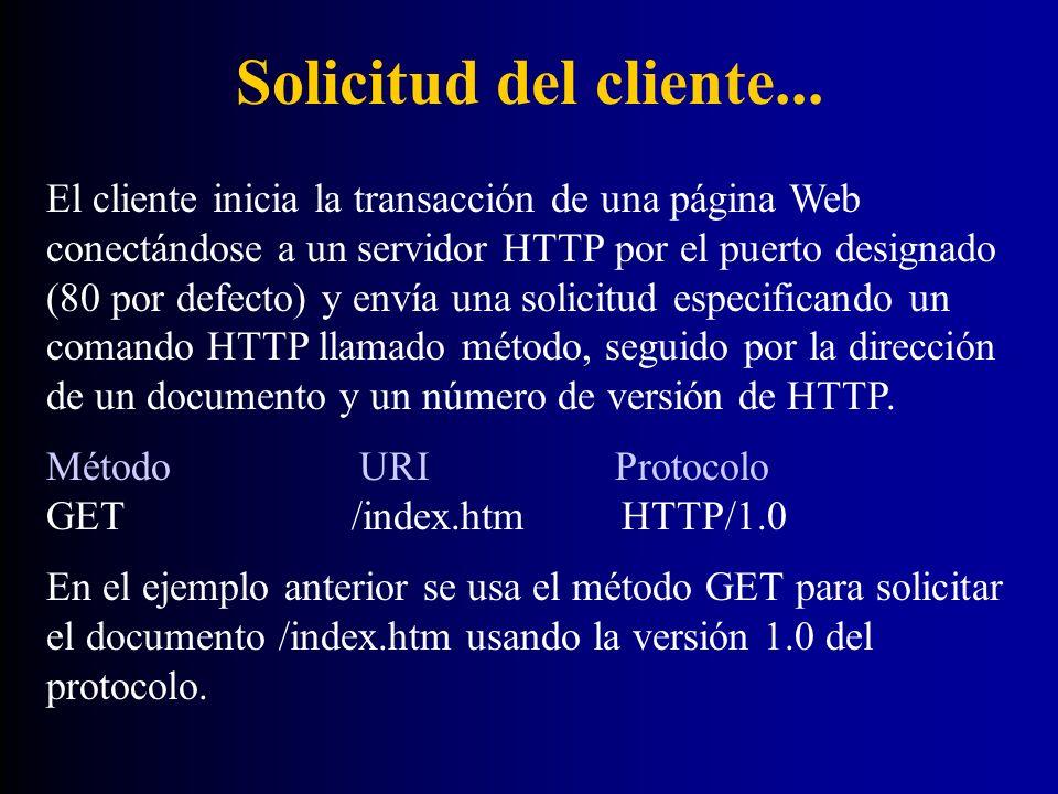 Solicitud del cliente... El cliente inicia la transacción de una página Web conectándose a un servidor HTTP por el puerto designado (80 por defecto) y
