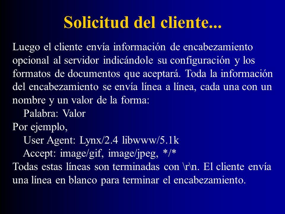 Solicitud del cliente... Luego el cliente envía información de encabezamiento opcional al servidor indicándole su configuración y los formatos de docu