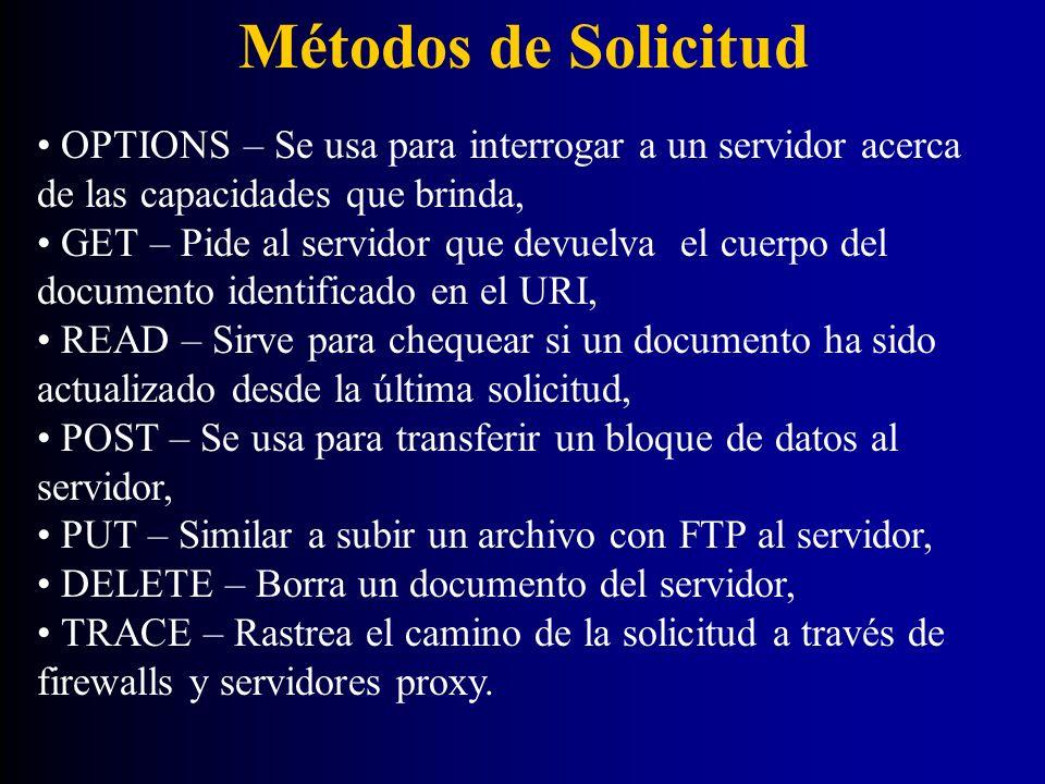 Métodos de Solicitud OPTIONS – Se usa para interrogar a un servidor acerca de las capacidades que brinda, GET – Pide al servidor que devuelva el cuerp