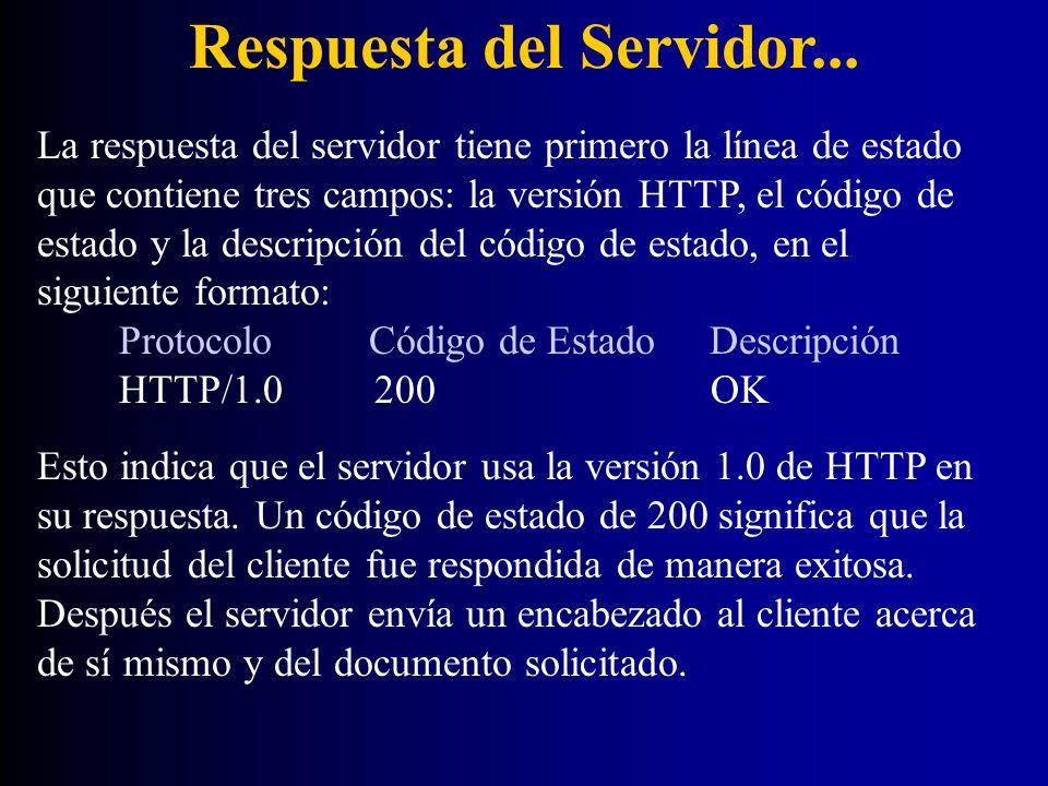 Respuesta del Servidor... La respuesta del servidor tiene primero la línea de estado que contiene tres campos: la versión HTTP, el código de estado y
