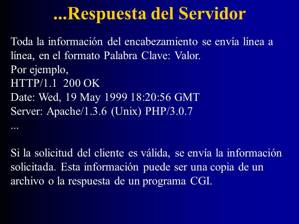 ...Respuesta del Servidor Toda la información del encabezamiento se envía línea a línea, en el formato Palabra Clave: Valor. Por ejemplo, HTTP/1.1 200