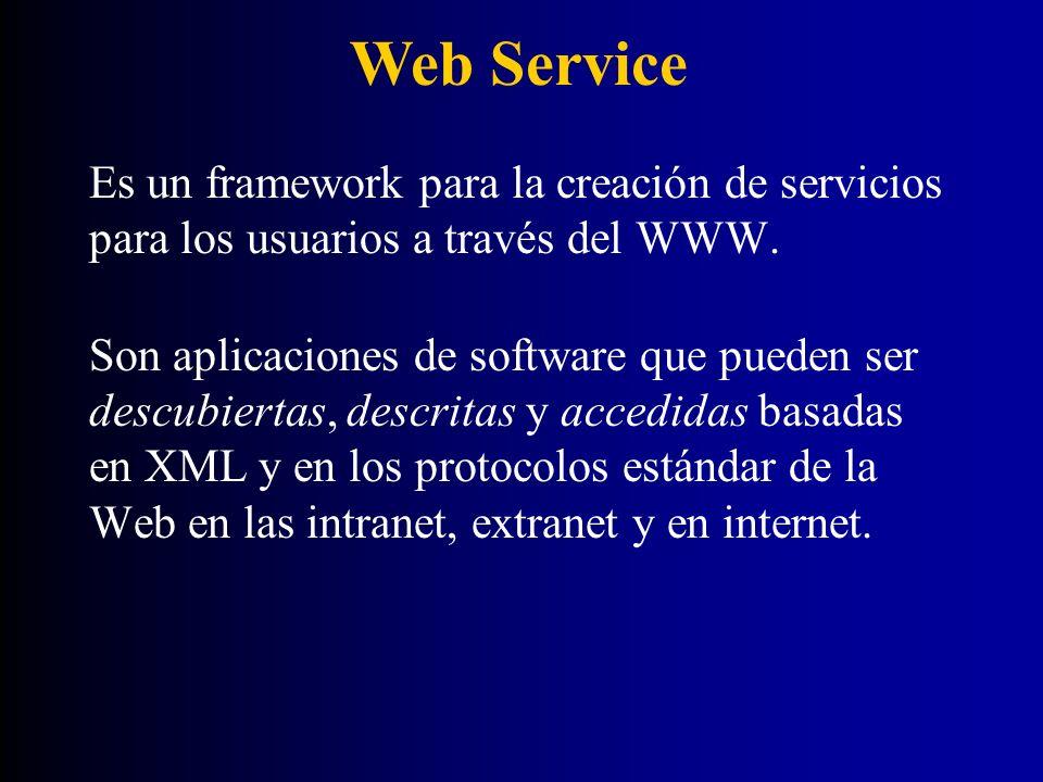 Forma estandarizada de integrar aplicaciones Web usando los estándares abiertos XML, SOAP, WSDL y UDDI sobre un protocolo de Internet.