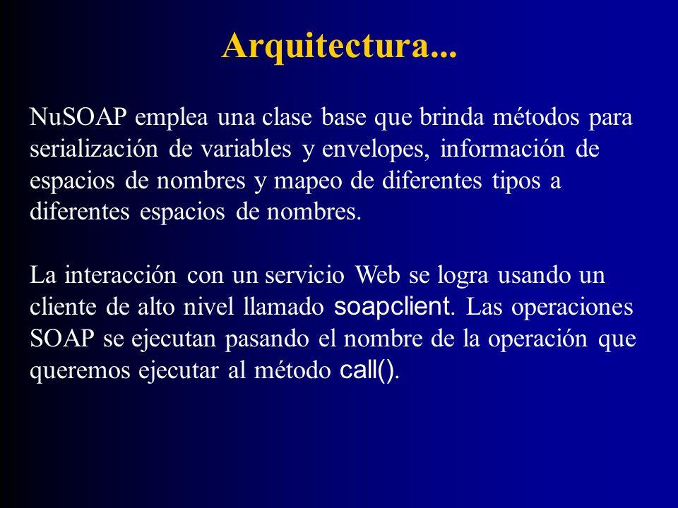 Arquitectura... NuSOAP emplea una clase base que brinda métodos para serialización de variables y envelopes, información de espacios de nombres y mape