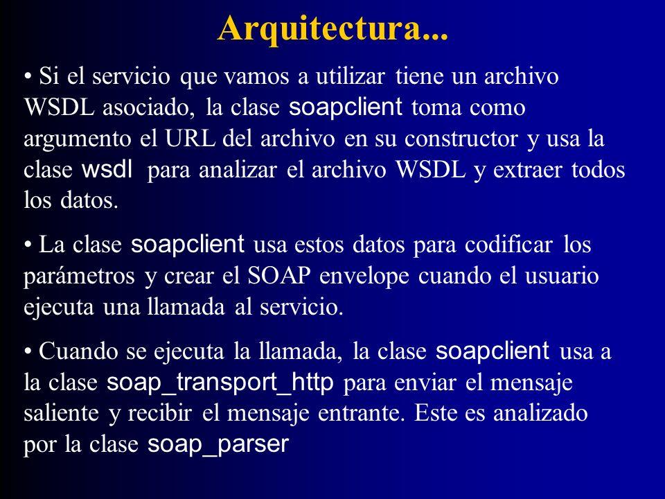 Arquitectura... Si el servicio que vamos a utilizar tiene un archivo WSDL asociado, la clase soapclient toma como argumento el URL del archivo en su c