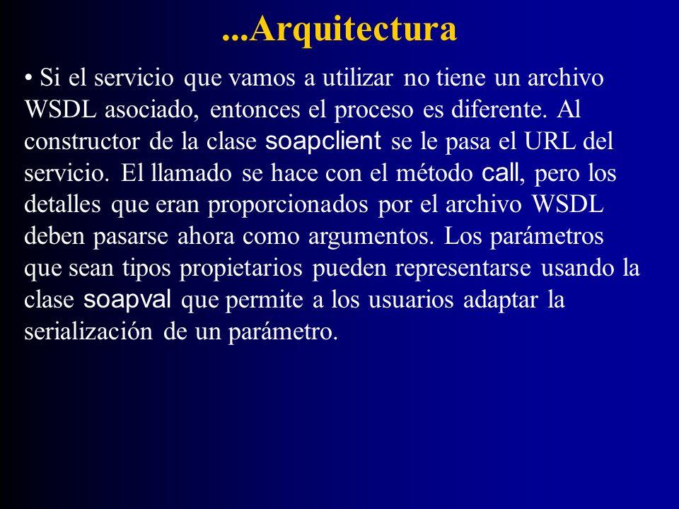 ...Arquitectura Si el servicio que vamos a utilizar no tiene un archivo WSDL asociado, entonces el proceso es diferente. Al constructor de la clase so