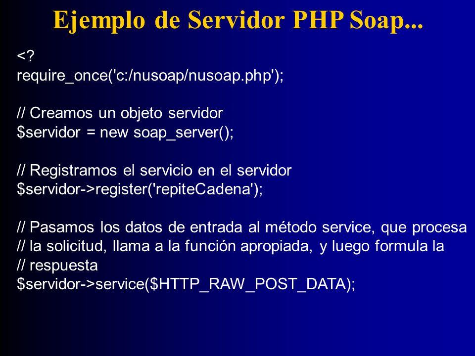 Ejemplo de Servidor PHP Soap... <? require_once('c:/nusoap/nusoap.php'); // Creamos un objeto servidor $servidor = new soap_server(); // Registramos e