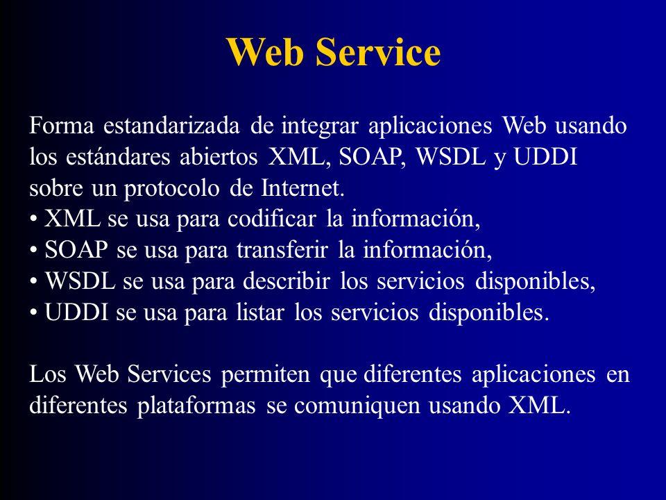 Web Service Capas básicas de los webservices Descubrir (registrosUDDI, ebXML) Describir (WSDL) Acceder (SOAP) XML CAPA DE COMUNICACION (HTTP, SMTP, y otros protocolos)