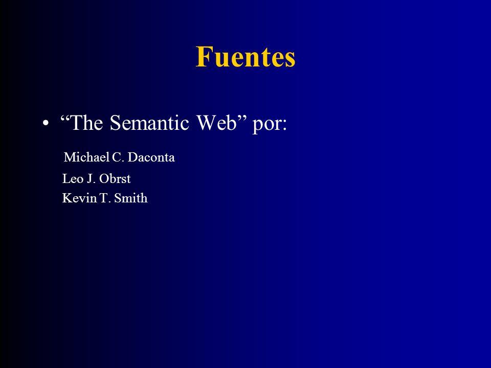 Fuentes The Semantic Web por: Michael C. Daconta Leo J. Obrst Kevin T. Smith