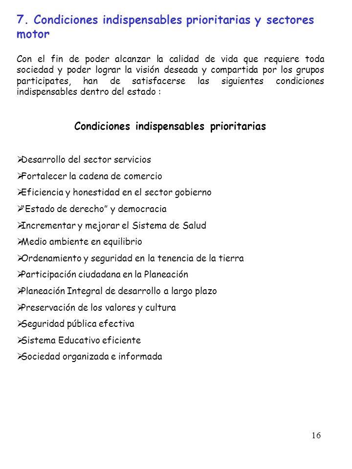16 7. Condiciones indispensables prioritarias y sectores motor Con el fin de poder alcanzar la calidad de vida que requiere toda sociedad y poder logr
