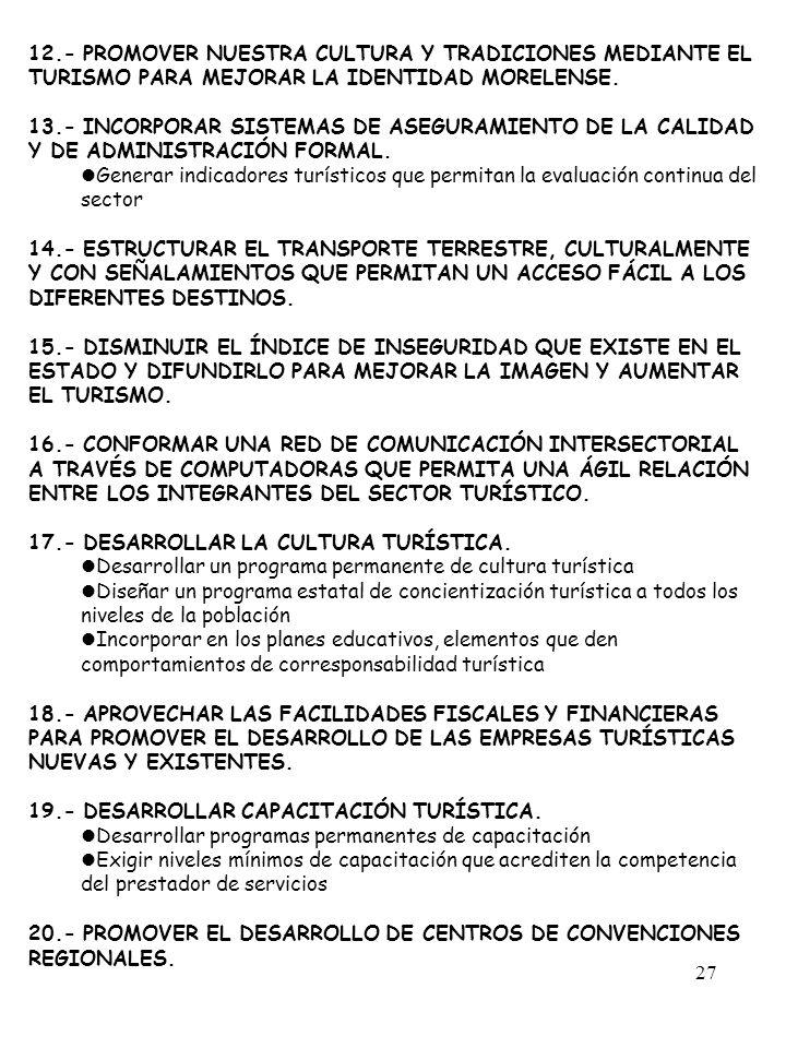 27 12.- PROMOVER NUESTRA CULTURA Y TRADICIONES MEDIANTE EL TURISMO PARA MEJORAR LA IDENTIDAD MORELENSE. 13.- INCORPORAR SISTEMAS DE ASEGURAMIENTO DE L