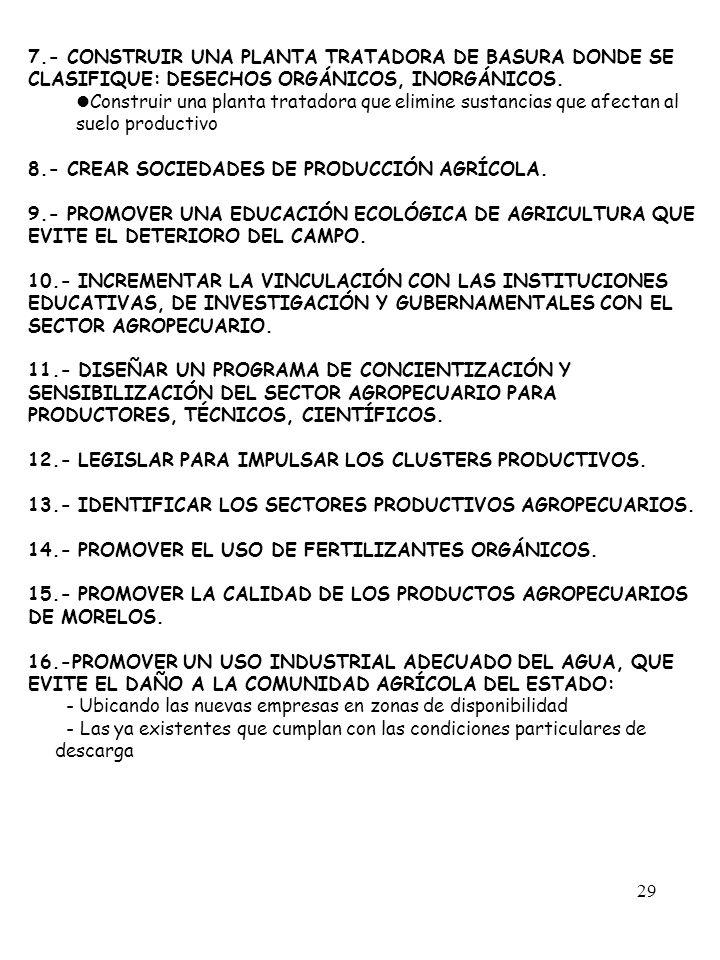 29 7.- CONSTRUIR UNA PLANTA TRATADORA DE BASURA DONDE SE CLASIFIQUE: DESECHOS ORGÁNICOS, INORGÁNICOS. Construir una planta tratadora que elimine susta
