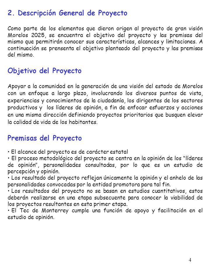 4 2. Descripción General de Proyecto Como parte de los elementos que dieron origen al proyecto de gran visión Morelos 2025, se encuentra el objetivo d