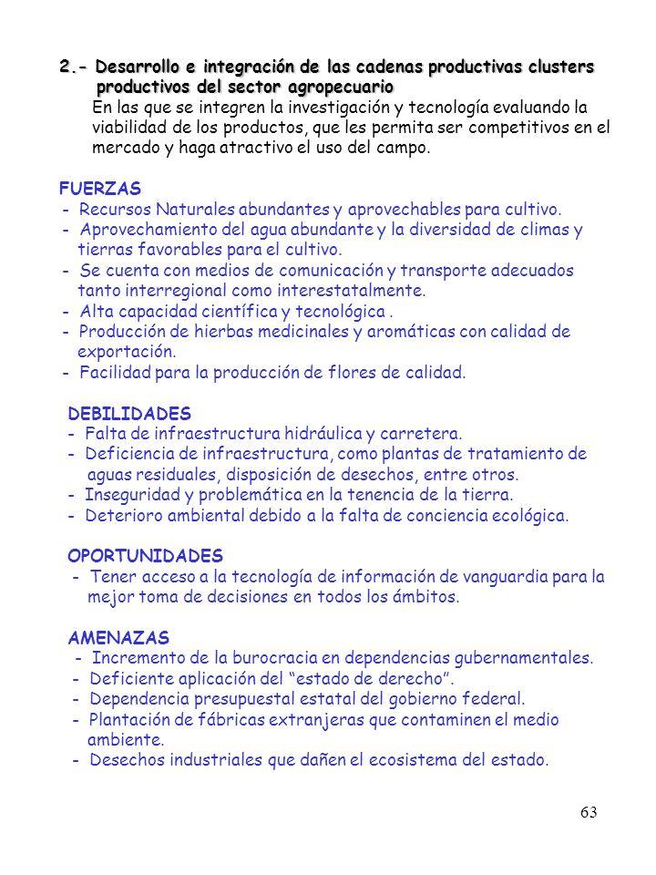 63 2.- Desarrollo e integración de las cadenas productivas clusters 2.- Desarrollo e integración de las cadenas productivas clusters productivos del s
