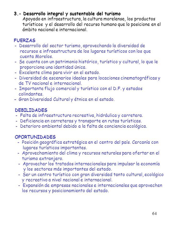 64 3.- Desarrollo integral y sustentable del turismo 3.- Desarrollo integral y sustentable del turismo Apoyado en infraestructura, la cultura morelens
